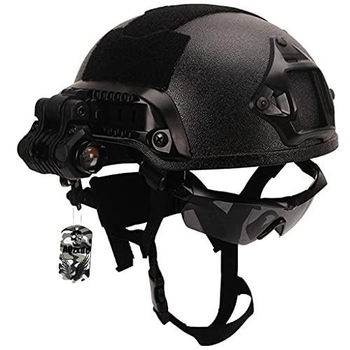 AQzxdc Conjunto de Casco Militar, con Auriculares&Gafas Tácticos&Combinación de Equipo Táctico de Riel NVG, para Airsoft Protective Outdoor Paintball Cosplay,Sets a