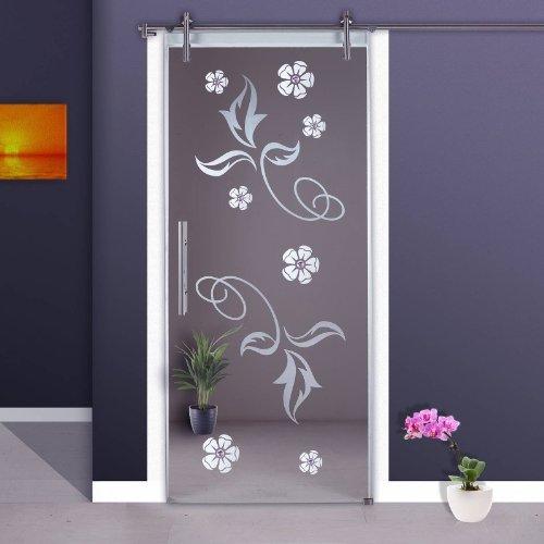 Correderas de cristal de puerta de ST 964-F V1000 - 1025 x 2050 x 8 mm a la derecha, 8 mm de cristal de seguridad, cristal transparente, decoración con piedras colour lila,