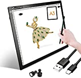 Mesa de Luz Dibujo LED A3,Mesa de Luz Para Calcar Ultrafino,LED Tableta de Luz con Cable USB con Brillo Ajustable Para Dibujo de Diamante Artistas Animación Dibujo Esbozo(Caja de regalo)