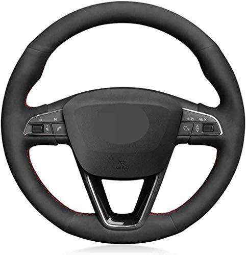 Nelbonls Cubierta de Volante de Coche de Gamuza Negra Suave DIY para Seat Leon 5F Mk3 2013-2019 Ibiza 6J Tarraco Arona Ateca Alhambra 2016-2019
