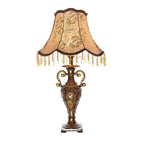 Mesilla de Noche Lámpara de Mesa para Dormitorio Decorativa lámpara de mesa, Resina Tela impresión Pantalla de lámpara de escritorio retro interruptor de botón simple de la sala dormitorio mesa de est