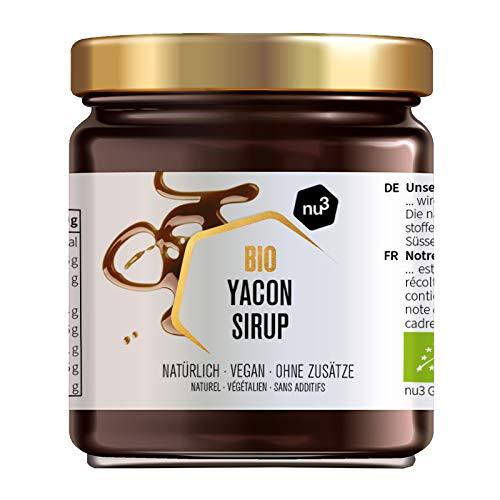 nu3 Bio Yacon Sirup - 250g im Glas - angenehme Süße aus peruanischen Boden Apfel – Yacon Sirup in Bio Qualität - weniger Kalorien als raffinierter Zucker bei niedrigem Glykämischen Index