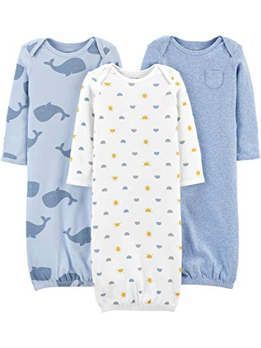 Simple Joys by Carter's Boys' 3-Pack Cotton Sleeper Gown, Whales/Sun/Dog, 0-3 Months