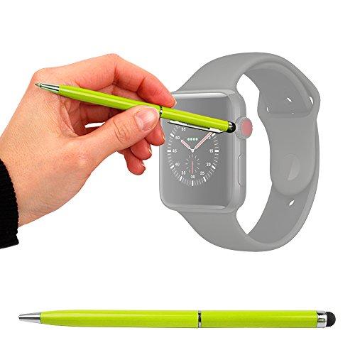 DURAGADGET Penna/Pennino Capacitivo Verde 2 in 1 per Apple Watch Series 3 - Protegge da Graffi e sporcizia