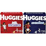 Baby Diapers Bundle: Huggies Little Movers Size 4, 140ct & Overnites Nighttime Diapers Size 4, 116ct
