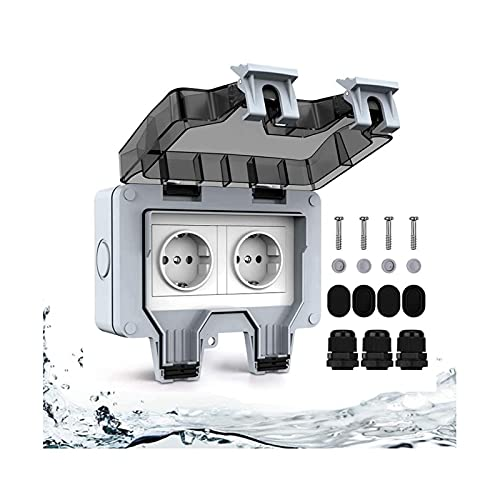 Enchufe exterior IP66, resistente al agua, enchufe de pared, resistente a la intemperie y al polvo, toma de potencia, enchufe exterior con protección de contacto
