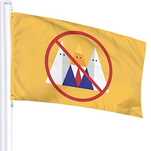 Lsjuee No Trump No Kkk 3 'X 5' Ft Außen- / Innenflaggen Gartenflagge Startflagge Single Layer Translucent