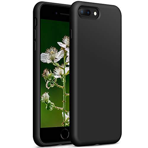 YATWIN Compatibile con Cover iPhone 8 Plus 5,5'', Compatibile con Cover iPhone 7 Plus Silicone Liquido, Protezione Completa del Corpo con Fodera in Microfibra, Nero