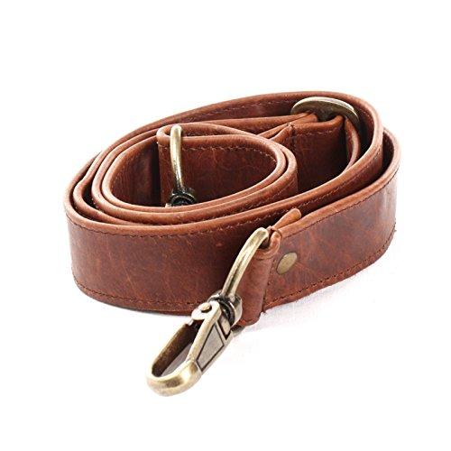LECONI Trageriemen Leder Schulterriemen breiter Schultergurt für Taschen Umhängegurt längenverstellbar 3,5x150cm braun LEC-R3