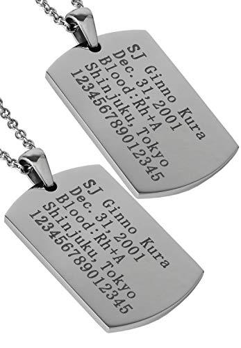 新宿銀の蔵 [刻印無料] ドッグタグ ステンレス ペアネックレス (レディース40cm メンズ60cm) カップル 2個セット 金属アレルギー 対応