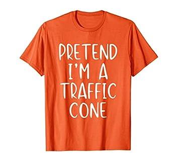 Pretend Traffic Cone Costume Halloween Lazy Easy T-Shirt