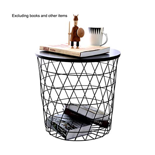 Iron Side Table Modern Ronde Net Basket kleine salontafel Storage Basket Nachtkastje Living Room bijzettafeltjes 17,32 x 16,53 x 14,17 Inches (Color : Black, Size : 17.32×16.53×14.17 Inches)