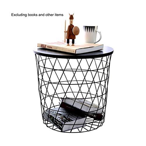 Iron Side Table Modern Ronde Net Basket kleine salontafel Storage Basket Nachtkastje Living Room bijzettafeltjes 17,32 x 16,53 x 14,17 Inches (Color : Black, Size : 17.32×16.53×14.17 Inches)