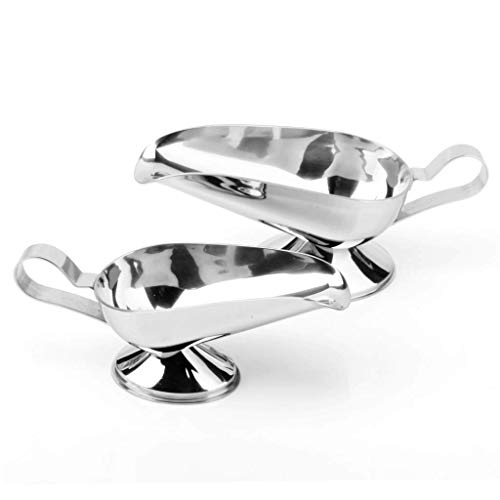 BOCbco Gravy Boats & Stands Gravy Boat Stainless Steel Gravy Boat, Stainless Steel Saucier with Ergonomic Handle and Big Dripless Lip Spout Gravy Sauce Boat/Saucer Stand,Small