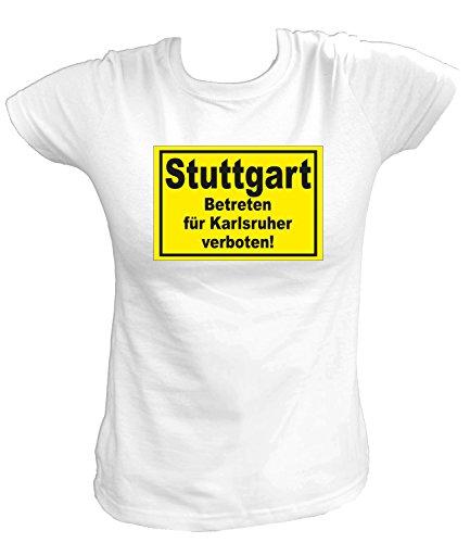Artdiktat Damen T-Shirt Stuttgart - Betreten für Karlsruher Verboten Größe XL, Weiß