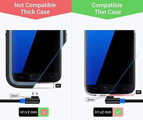 SUNGUY Micro USB Kabel [0.3M 2Stück ] USB Abgewinkelt 90 Grad Micro USB Winkel Schnellladung und Datenkabe Kompatibel für Samsung Galaxy S7 Edge, Anker, RAVPower, Poweradd Pilot, AUKEY Power Bank
