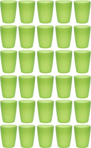 idea-station Neo Bicchieri plastica 30 Pezzi, 250 ml, Verde, riutilizzabili, infrangibili, Rigida, Bambino, Bambini, Campeggio, Acqua, Birra