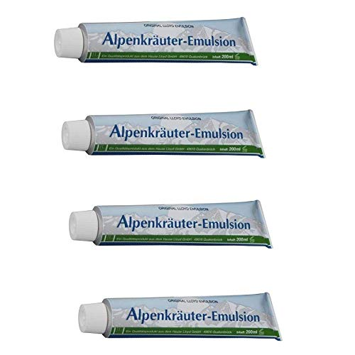 4X Lloyd 800 ml alpenkruiden emulsie, wellness, sport, massage, crème, balsem, massagecrème met kruiden, 4 x 200 ml