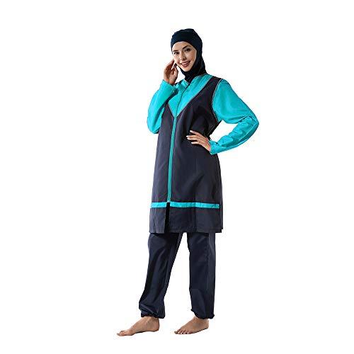 XDXART Damen Modest Muslim Badeanzug Tops Hut Langarm Bademode mit Brust Pad Beachwear islamisches Kostüm, blau, XL