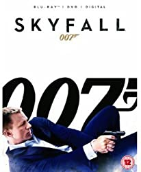 Promotional image for Skyfall showing Daniel Craig as James Bond lying on his side in a suit shooting a gun, with 007 in large lettering in background