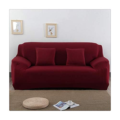 ASVNDD Solid Color Elastic-Sofa-Abdeckung Spandex Moderne Polyester Ecksofa Couch Husse Stuhl Schutz Wohnzimmer 1/2/3/4 Seater (Color : Red, Specification : 45 45cm 2 Pillowcase)