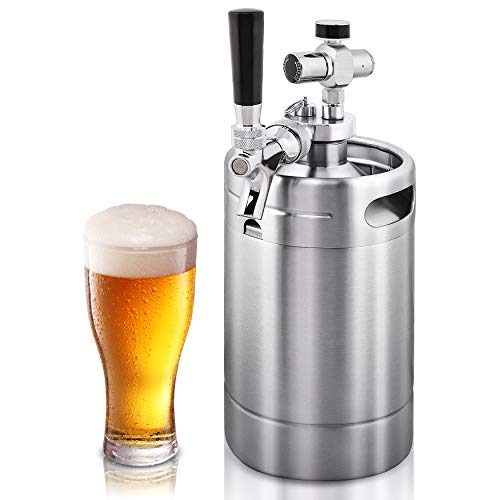 NutriChef Double Walled System-64oz Stainless Steel Growler Tap Portable Mini Keg Dispenser Kegerator Kit w/ Co2 Pressure Regulator for Craft Beer Draft/Homebrew PKBRTP99