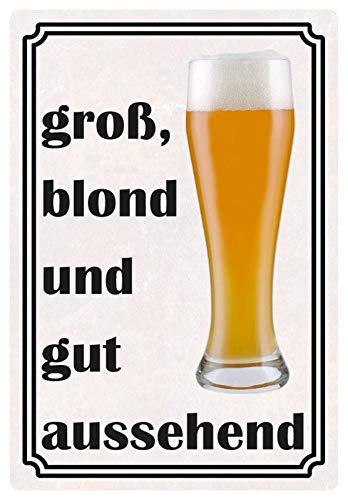 Metalen bord 20x30cm Bier groot blond en goed uitziend bord Tin Sign