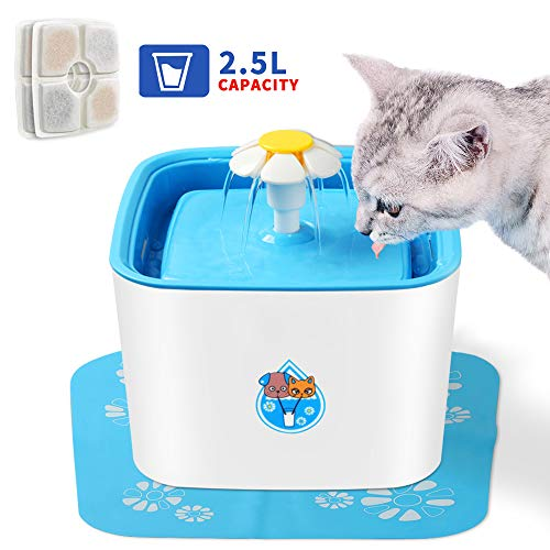 Barvest Pet Fountain Cat Dog Water Dispenser, 2.5L Cat Water Fountain Automatic Drinking Dispenser with 2 Extra Replacement Filters, Pets Health Caring Fountain for Cat and Small Dog/Animals