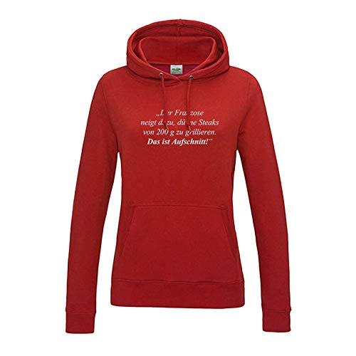 Jimmys Textilfactory Hoodie Das ist Aufschnitt Grillen Spruch Zitat Humor Fun 12 Farben Damen XS-2XL feiern Comedy Parodie BBQ Geschenk, Größe:2XL, Farbe:rot - Logo Weiss