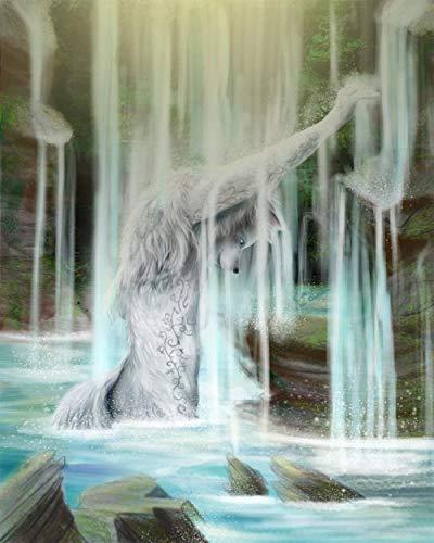 Ölgemälde nach Zahlen DIY Ölgemälde nach Zahlen Kit Kinder Erwachsene Anfänger Weihnachtsdekor Geschenke Wasserwolf 40X50Cm DIY Digitale Malerei