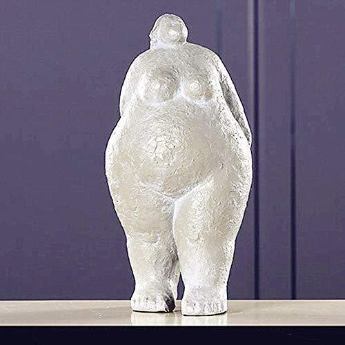 SXSYZZCL Estatua,Abstracción Fat Lady Figura Estatua Retrato de Cuerpo Entero Resina Artesanía Oficina Hotel Salón Decoración Regalo, Gris