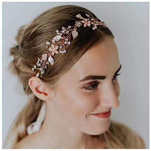 SWEETV Braut Stirnband Bohemien Handgefertigt Haarschmuck Hochzeit Stirnbänder Perle Haarreife Diadem, Roségold