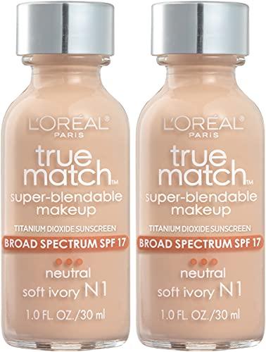 L'Oreal Paris Makeup True Match Super-Blendable Liquid Foundation, Soft Ivory N1, 1 Fl Oz,1 Count