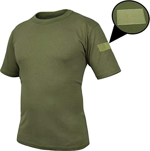 normani Tactical BDU Kampfshirt T-Shirt mit Klettpatches, Armtaschen & versteckten Seitentaschen Farbe Oliv-Captain Größe 6/M