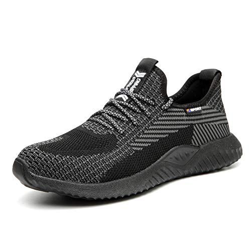 UCAYALI Chaussures de Sécurité Homme Basket de Sécurité Respirante Antidérapantes Chaussure de Travail Chantiers et Industrie avec Embout Acier - Légères et Confortables(Noir, 43)