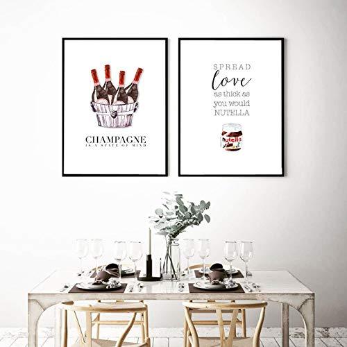 Cartel de vino de moda boho pintura en lienzo minimalista escandinavo arte moderno impresión imagen de pared para sala de estar decoración del hogar-30x45cmx2 sin marco