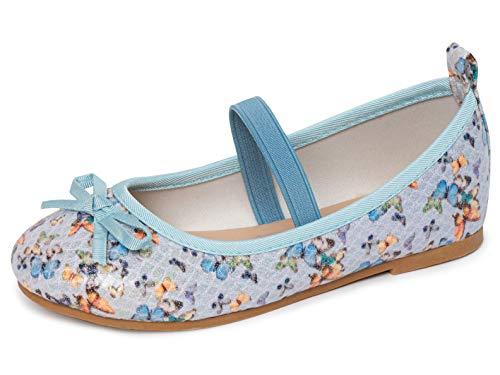 Dancina Zapatos planos Mary Jane de ballet con lazo para niñas (niñas/niñas), azul (Mariposa...