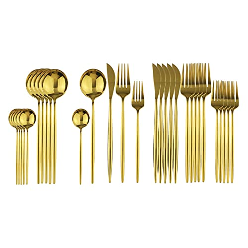 Zchunrong 30 unids conjunto de cubiertos de rosa Set de vajilla de acero inoxidable Juego de vajillas Cubiertos Cubiertos Conjunto Cena Cuchillo Tenedor Spoon des Tenedor CC ( Color : Gold )