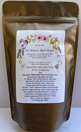 Multani Mitti Fullers Earth Clay Powder | 16oz 1lb | Indian Healing Clay |Oily Skin Facial | Masks dry shampoo detox | Pore Oil Minimizer | The Bloomin Herb Shoppe | bulk no additives or preservatives