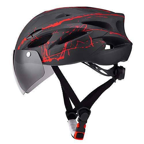 TOMSHOO Fahrradhelm Herren/Damen Radhelm Mountainbike Helm Cityhelm Fahrrad mit Abnehmbarer Schutzbrille Geeignet für Kopfumfang 57-62 cm
