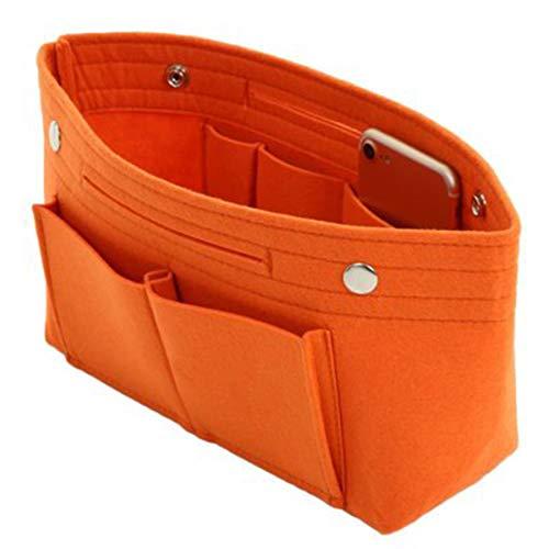 SHMONA Handtaschen-Organizer 2 in1 Filz Geldbörse Organizer Einsatz mit Innentasche Taschen Organisator- Taschenorganizer Handtasche Orange