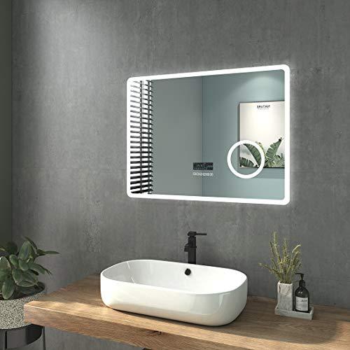 welmax Badspiegel mit Beleuchtung LED Badezimmerspiegel Wandspiegel Lichtspiegel Wasserdicht IP44, Energieklass A++ (80x60cm Touchschalter+Bluetooth+3-Fach Vergröß, Rechteck   Stil E)