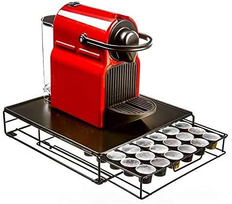 Soporte para maquina nespresso con dispensador de capsulas de cafe - Cajón organizador de capsulas nespresso con capacidad de 48 capsulas