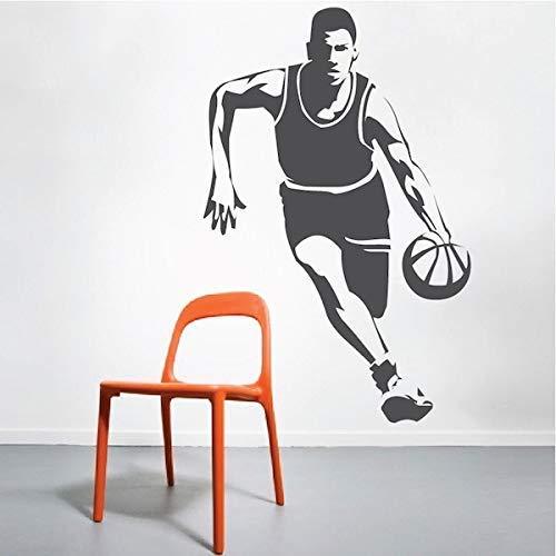 Correr Jugador De Baloncesto Pegatinas De Pared Decoración Artística Baloncesto Dunk Vinilo Pared Calcomanía Pegatina Papel Tapiz Mural 58X89Cm