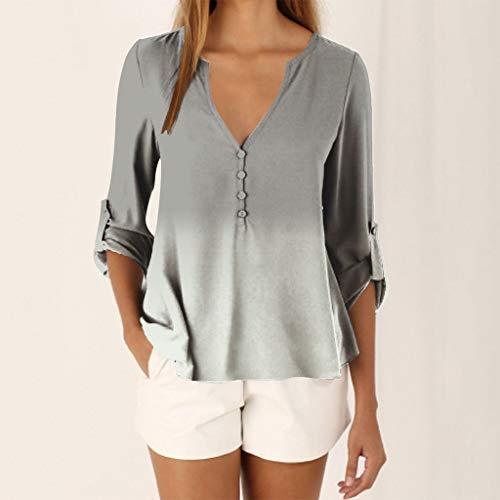 Damen Übergröße Tie-Dye Farbverlauf Chiffon V-Ausschnitt Langarm Shirt Tops Bluse
