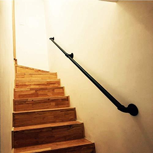 Wghz Schwarze Innen- und Außentreppenwand Handrai, Metall-Schmiedeeisen-Korridor-Durchgangsgeländer, Unterstützung für ältere Kinderschienen