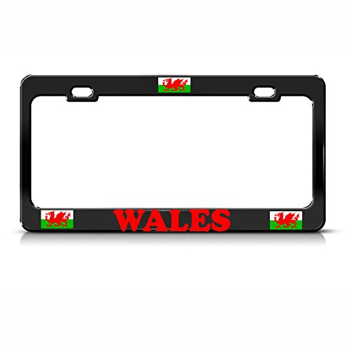 Wales Vlag Heavy Duty Metaal Zwart License Plaat Frame Tag Border Perfect voor Mannen Vrouwen Auto garadge Decor