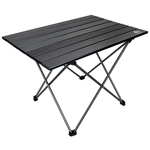 BERSERKER OUTDOOR Portable Camping Table Small Folding Aluminum Table Lightweight Compact Roll Up Table Top with Carry Bag Set Up 157#039#039Lx136Wx126#039#039H for BBQBeachPicnic Home Use