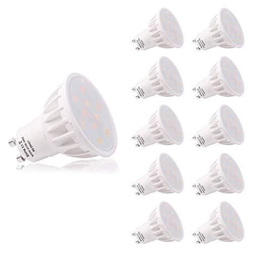 (10er-Pack Naturweiß) LOHAS 6W GU10 LED Lampen, Ersatz für 50W Halogenlampen, 500lm, Naturweiß 4000K, 120°Abstrahlwinkel, Nicht Dimmbar, LED Lampe, LED Birnen, LED Leuchtmittel