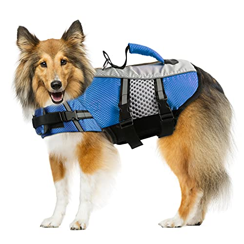Dog Life Jacket Swimming Vest, Adjustable Dog Flotation Vest High Reflective Pet Life Preserver with Rescue Handle for Small Medium Large Dogs (XX-Large, Blue)
